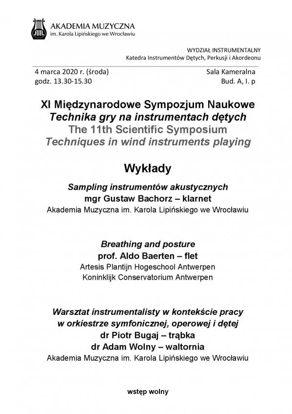 Sympozjum Metodyczne - Problemy nauczania w grze na instrumentach dętych, perkusyjnych i akordeonie