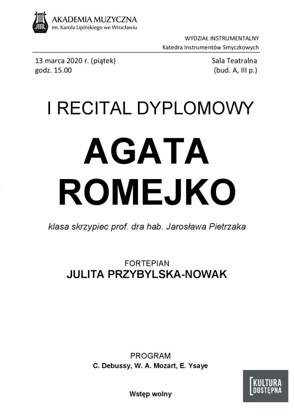 Agata Romejko - I Recital dyplomowy