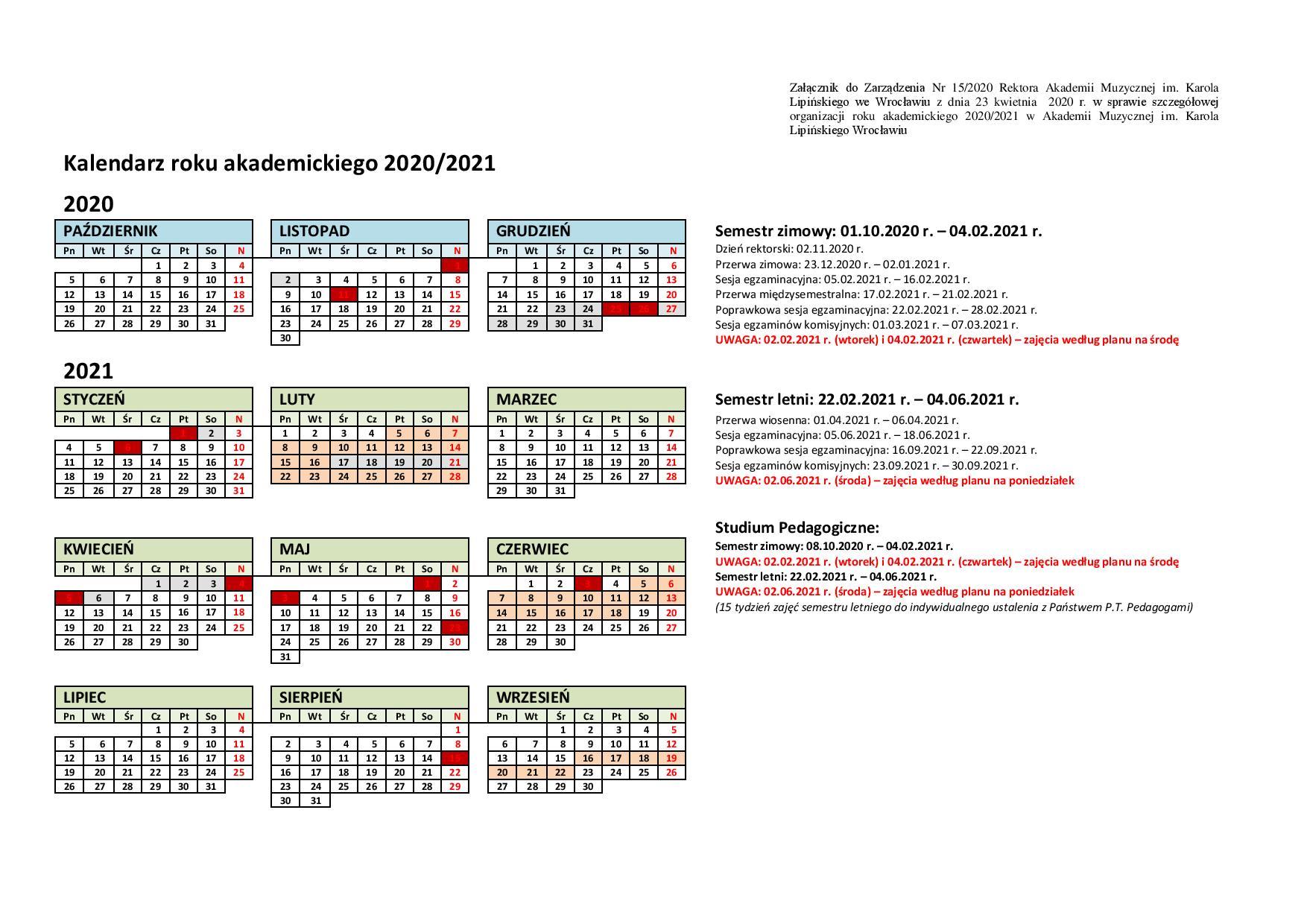 Kalendarz akademicki 2020/2021