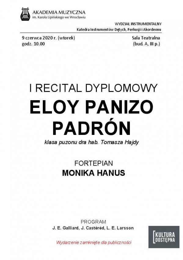 Eloy Panizo Padron - I Recital Dyplomowy