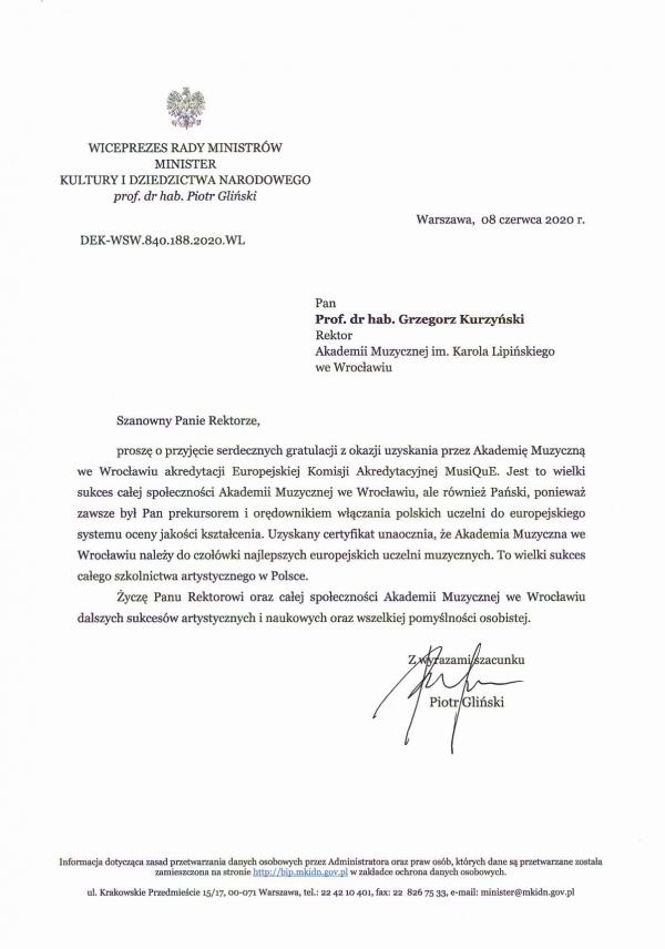 List gratulacyjny od Ministra Kultury i Dziedzictwa Narodowego dla Akademii Muzycznej im. K. Lipińskiego we Wrocławiu