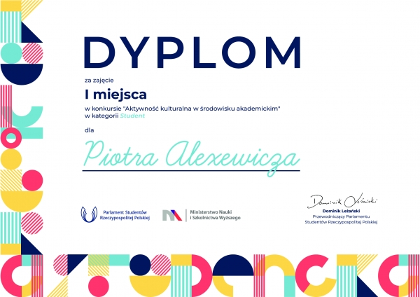 Piotr Alexewicz laureatem konkursu Aktywność kulturalna w środowisku akademickim